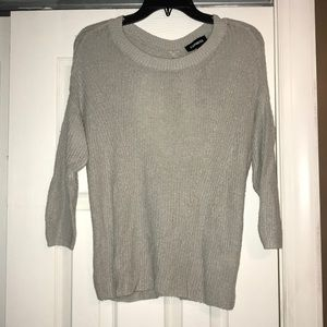 Express gray 3/4 sleeve open back sweater